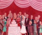 """Bride Cuts the Cake  (22"""" x 26"""")"""